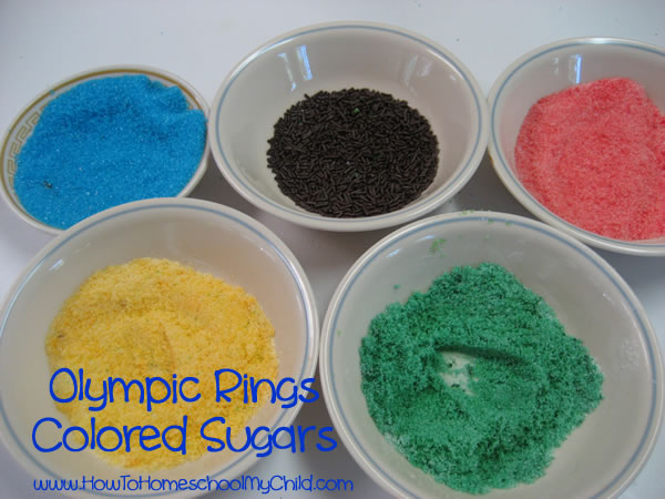 Olympic Activities for Kids - colored sugar