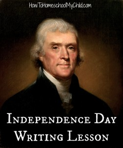 independence day FREE writing lesson from HowToHomeschoolMyChild.com