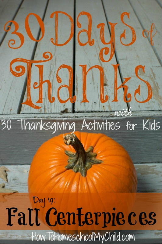 day19 - Fall Centerpieces Kids Can Make {30 Days of Thanksgiving Activities for Kids} ~ HowToHomeschoolMyChild.com