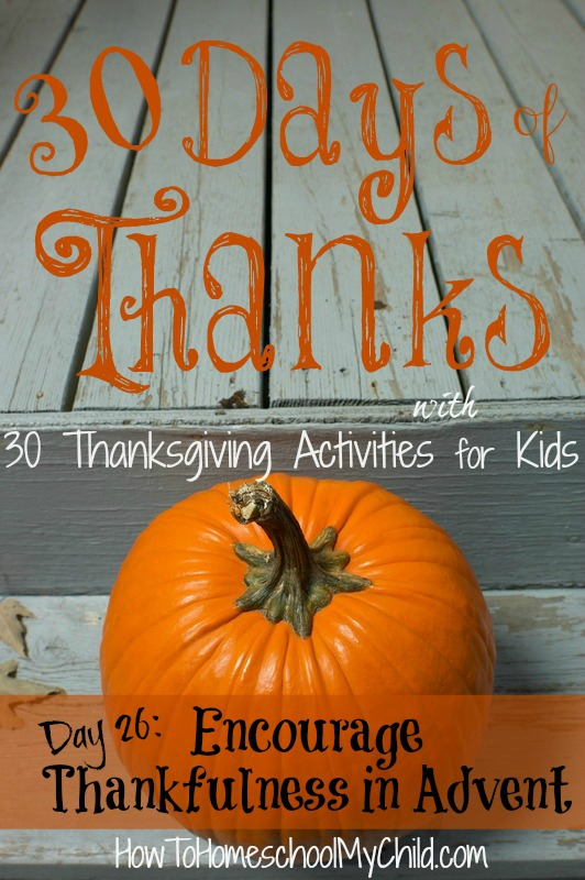 day26  - how to encourage thankfulness to prepare for Advent & Christmas  {30 days of thanksgiving activities for kids }   ~   HowToHomeschoolMyChild.com