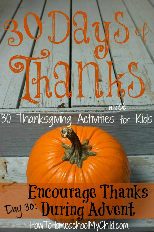 day30 - how to encourage thankfulness during Christmas {30 days of thanksgiving activities for kids } ~ HowToHomeschoolMyChild.com