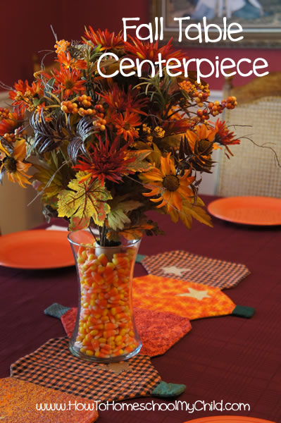 fall centerpieces - table decorations | HowToHomeschoolMyChild.com