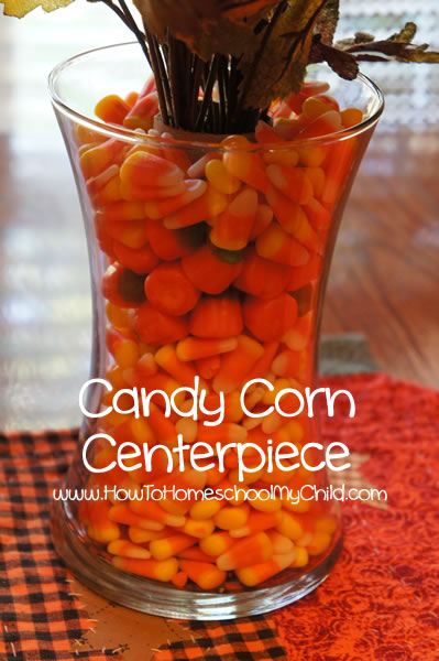 fall centerpieces with candy corn