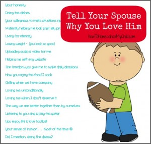 50 reasons you love him {Marriage on Mondays} from How to Homeschool My Child.com