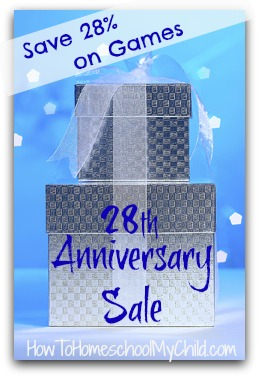 anniversary sale on history & geography games 28% off | HowToHomeschoolMyChild.com