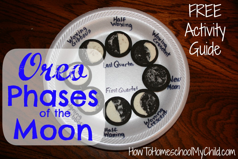 oreo phases of the moon - FREE activity guide from HowToHomeschoolMyChild.com