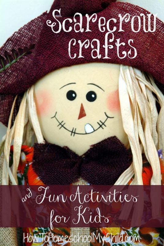 scarecrow crafts & fun homeschool activities for kids from HowToHomeschoolMyChild.com