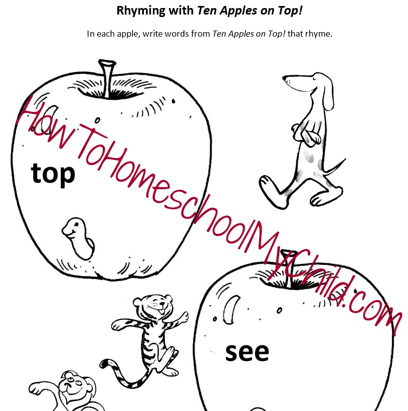 ten apples on top activities - free homeschool worksheet about rhyming from HowToHomeschoolMyChild.com