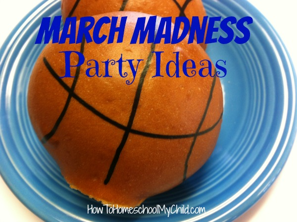 buns, biscuits, whatever bread you're serving - turn them into basketballs with food markers - March Madness party ideas ~ from HowToHomeschoolMyChild.com