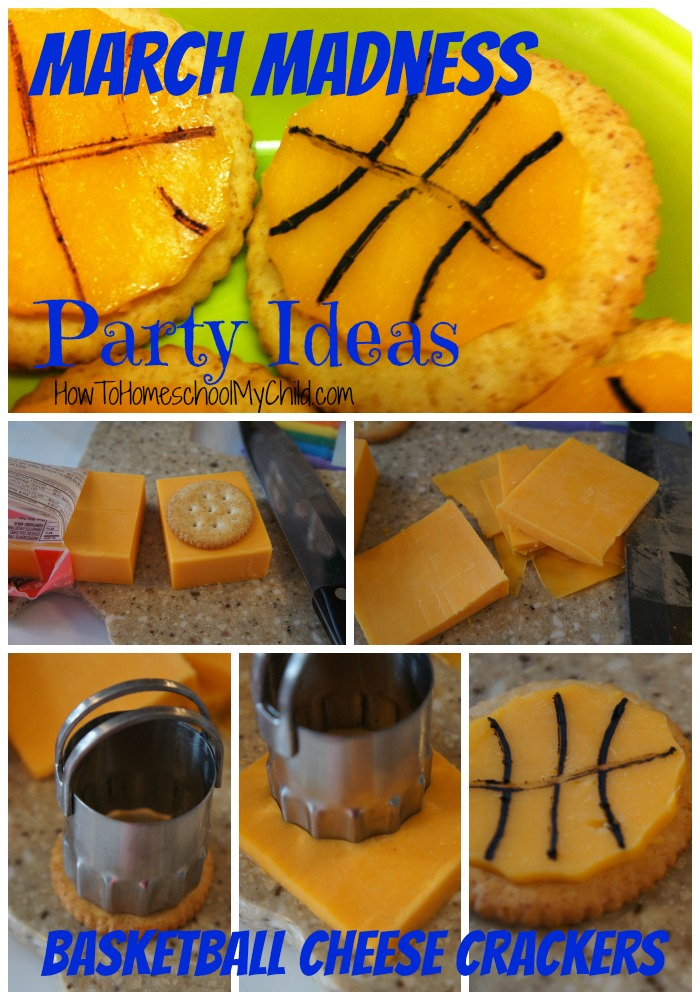 basketball cheese crackers - march madness party ideas ~ from HowToHomeschoolMyChild.com