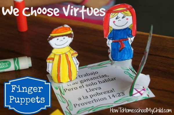 Finger Puppets - Bible crafts for Ruth & diligence from We Choose Virtues ~ recommended by HowToHomeschoolMyChild.com