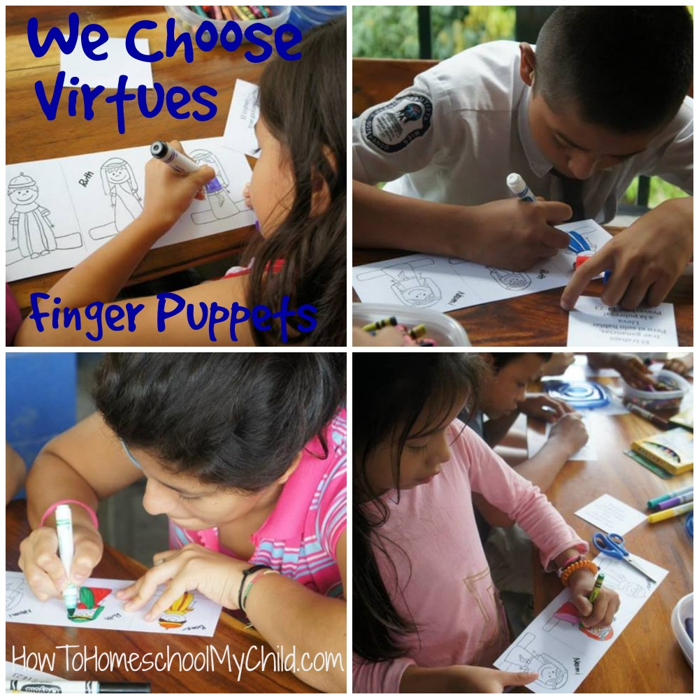finger puppets - Bible craft to teach diligence from We Choose Virtues ~ recommended by HowToHomeschoolMyChild.com