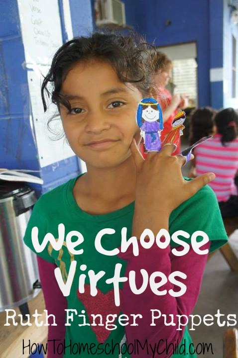 Bible crafts for Ruth & diligence {Finger Puppets} from We Choose Virtues ~ recommended by HowToHomeschoolMyChild.com