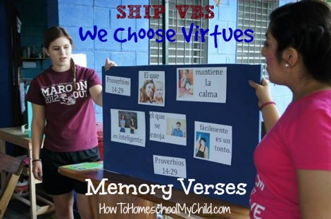Fun way to practice memory verses in a group - We Choose Virtues ~ recommended by HowToHomeschoolMyChild.com