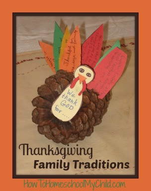 How to make a thankful turkey from a pinecone - Our family loved this Thanksgiving Family Traditions from HowToHomeschoolMyChild.com