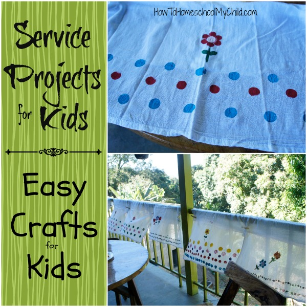 Service Projects for kids and Easy Crafts for Kids - paint & stencil flour sack towels from HowToHomeschoolMyChild.com