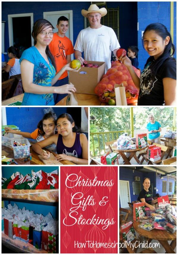 Stuffing gift bags & stockings for Christmas Fiesta on family mission trip