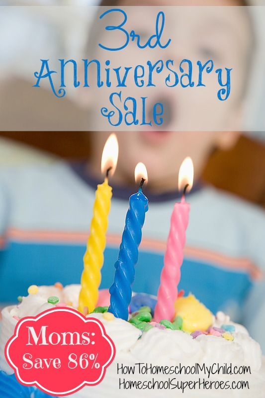 3rd anniversary sale - SAVE 86% on 75 homeschool interviews from HowToHomeschoolMyChild.com