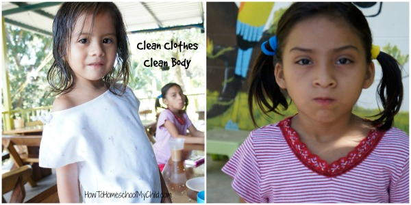 Clean clothes & their first shower thanks to SHIPInternational.org - Family Mission trips & HowToHomeschoolMyChild.com