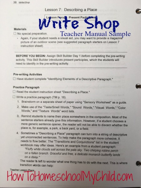 Sample of WriteShop Teacher Manual - Terrific writing lessons. Full review from HowToHomeschoolMyChild.com