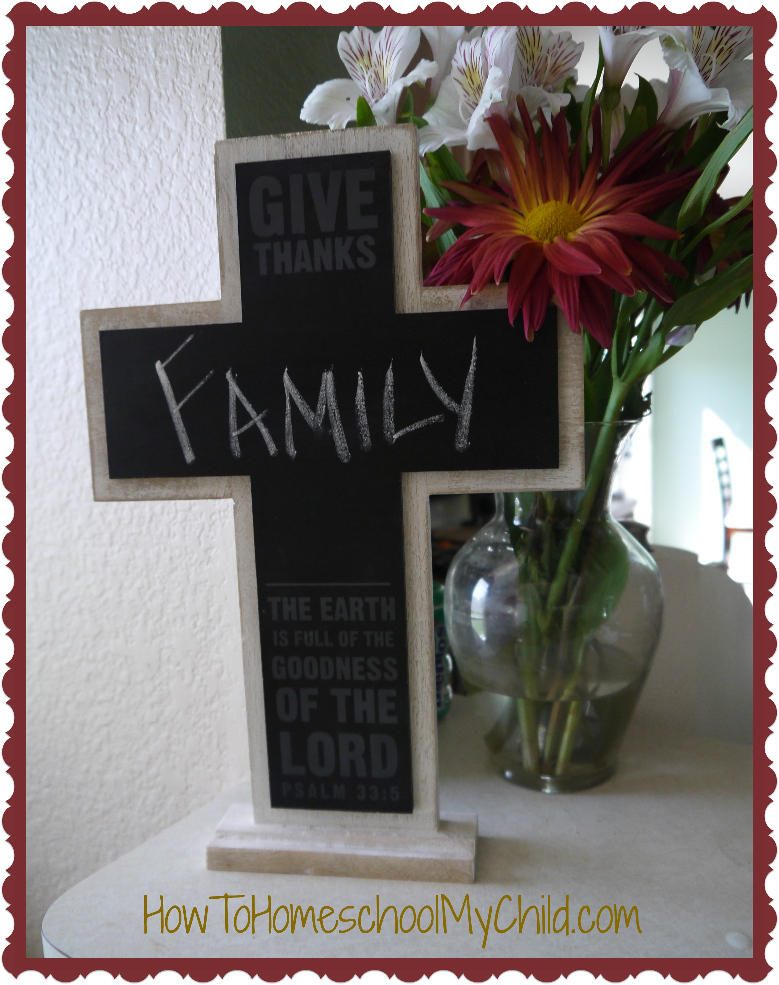 I am thankful for my family! Write it on this Cross Chalkbaord Thanksgiving Decoration from 30 Days of Thanksgiving Activities for Kids