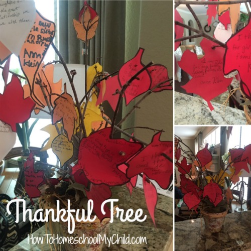 Thankful Tree - Each year let your kids write their thanks. Include their name & year - Great family tradition for Thanksgiving from HowToHomeschoolMyChild.com