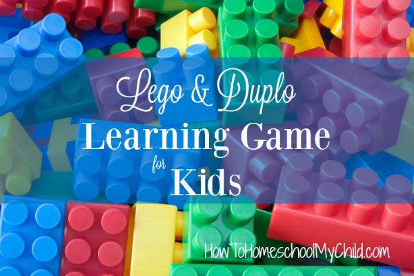 Lego or Duplo Learning Game for Kids from HowToHomeschoolMyChild.com