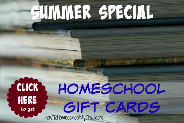 Get discounts on homeschool books with our gift cards