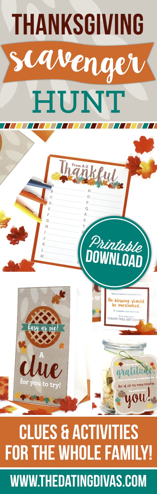 Thanksgiving Scavenger Hunt - Free thanksgiving games from 30 days of Thanksgiving activities for kids
