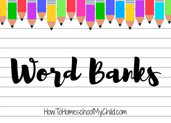 Get your free word banks from HowToHomeschoolMyChild.com