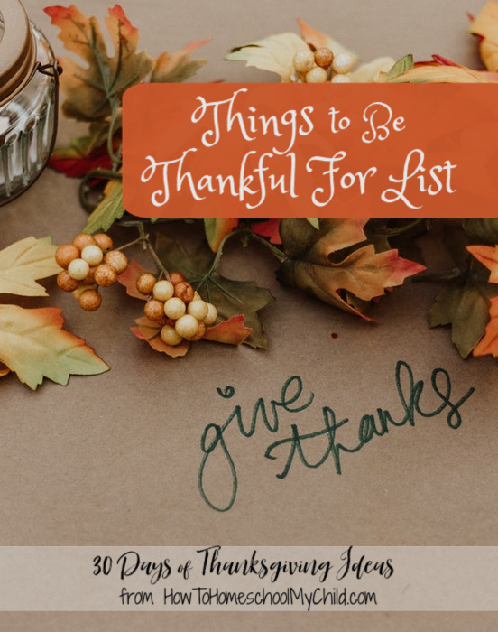 things to be thankful for list