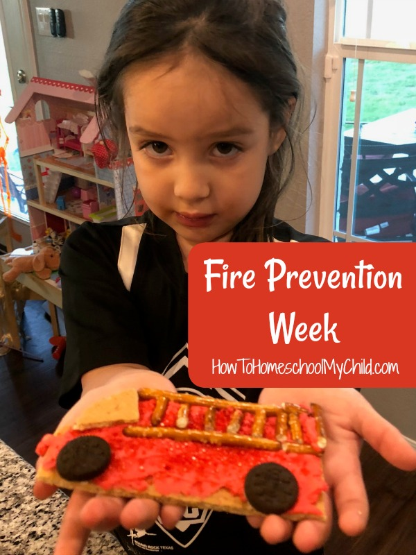 Fun fire prevention week activity ... Eat your graham cracker fire truck when you're done