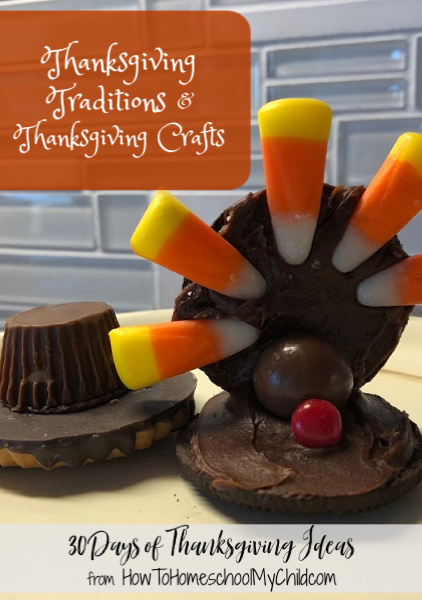 Thanksgiving traditions & Thanksgiving crafts including these cute turkey Oreo cookies and pilgrim hat cookies