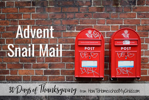 Advent Snail Mail activities for kids