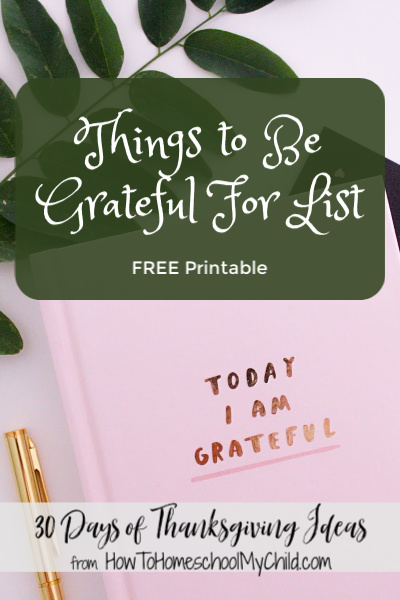 Things to be grateful for list - Free printable