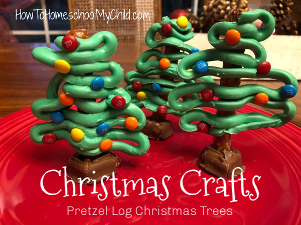 Christmas crafts for your kids - Make a pretzel log Christmas tree this weekend