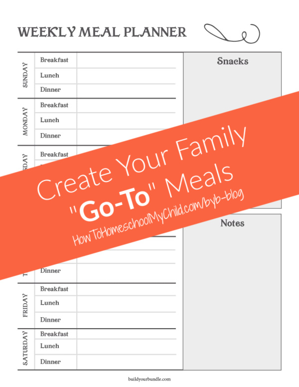 How to organize recipes with Go-To meal ideas