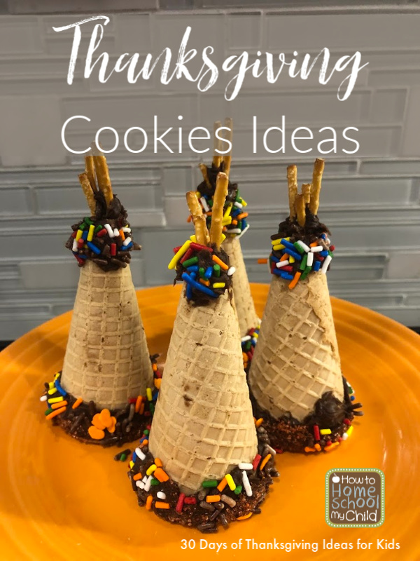 Thanksgiving Cookies Ideas - Indian Teepee Sugar Cone Cookies