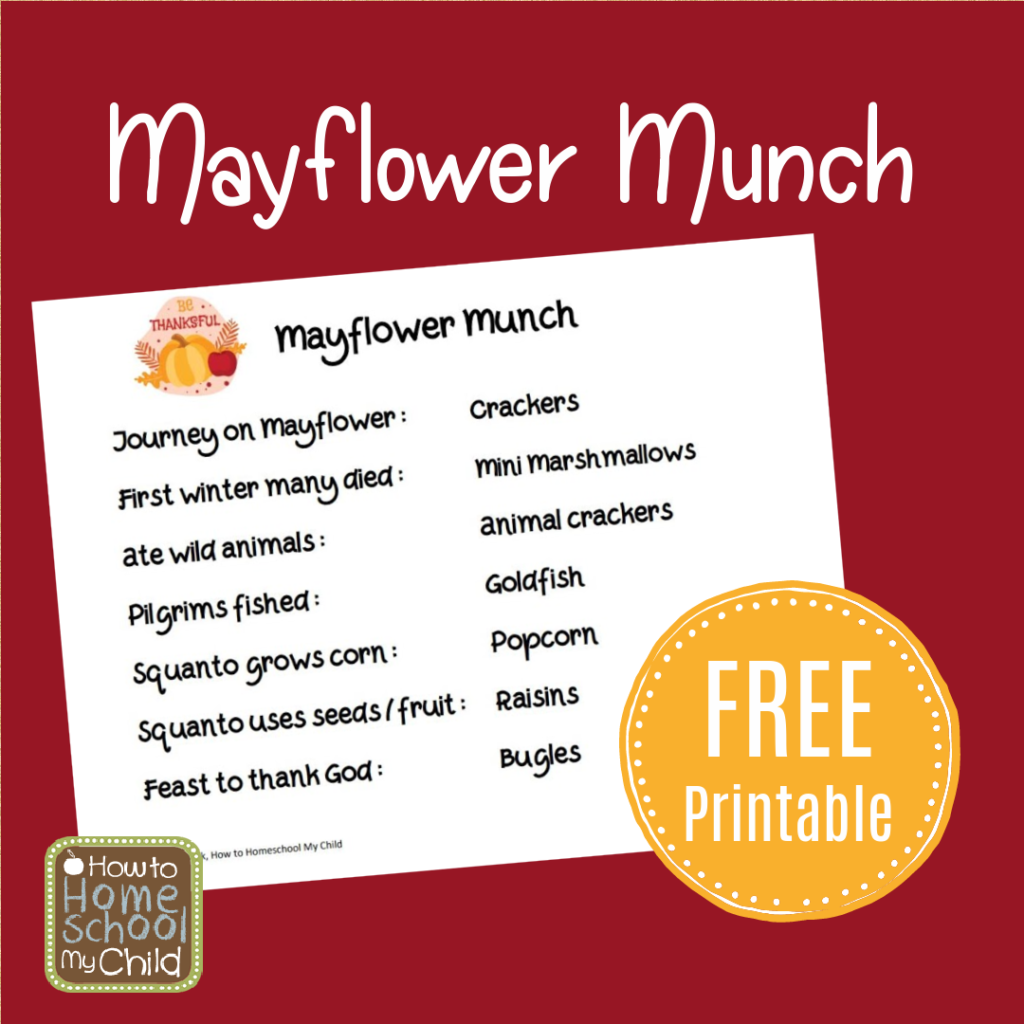 Mayflower Munch in Thanksgiving School